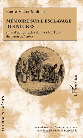 Couverture Mémoire sur l'esclavage des nègres