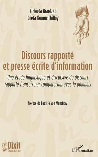 Couverture Discours rapporté et presse écrite d'information