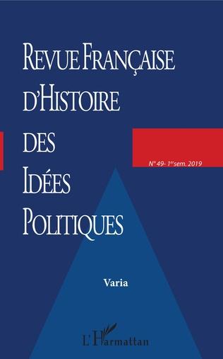 Couverture Revue française (49) d'histoire des idées politiques