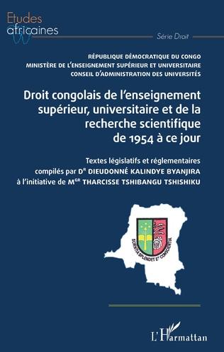Couverture Droit congolais de l'enseignement supérieur, universitaire et de la recherche scientifique de 1954 à ce jour