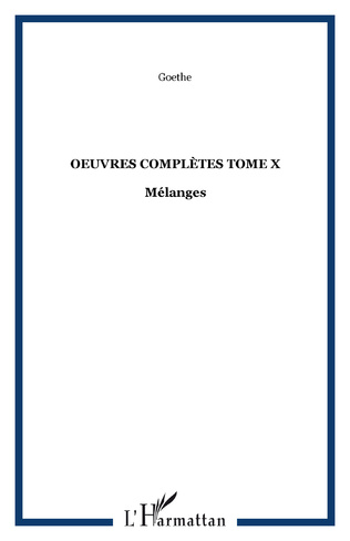 Couverture OEuvres complètes Tome X