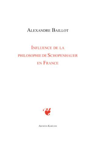 Couverture Influence de la philosophie de Schopenhauer en France