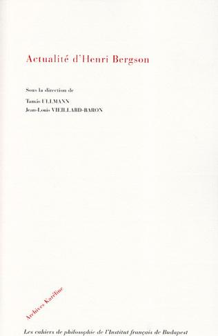 Couverture Actualité d'Henri Bergson