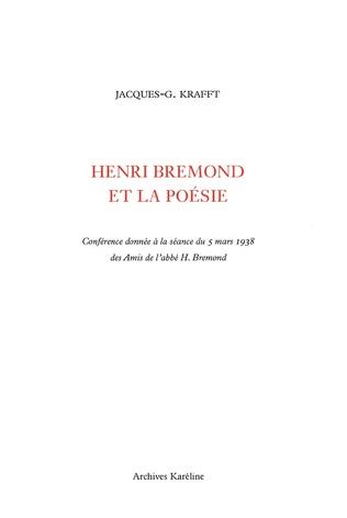 Couverture Henri Brémond et la poésie
