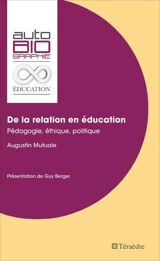Couverture De la relation en éducation