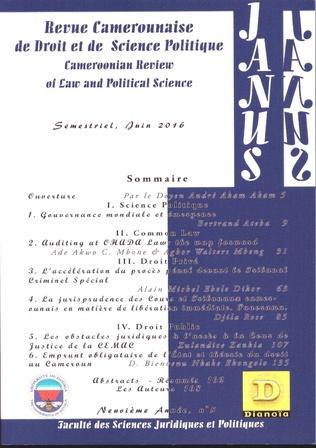 Couverture Revue Camerounaise de Droit et Science Politique (Janus 5)
