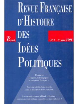 Couverture Revue française d'histoire des idées politiques - 1
