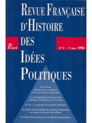 Couverture Revue française d'histoire des idées politiques - 3