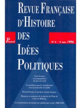 Couverture Revue française d'histoire des idées politiques - 4