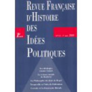 Couverture Revue française d'histoire des idées politiques - 13