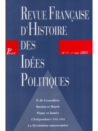 Couverture Revue française d'histoire des idées politiques - 17