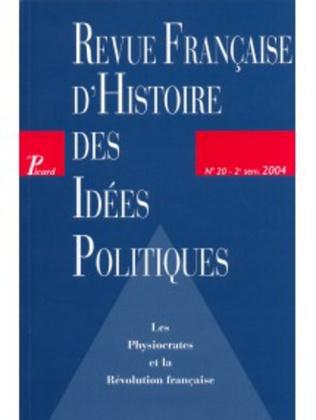 Couverture Revue française d'histoire des idées politiques - 20