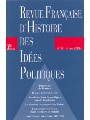 Couverture Revue française d'histoire des idées politiques - 23