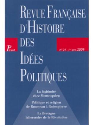 Couverture Revue française d'histoire des idées politiques - 29