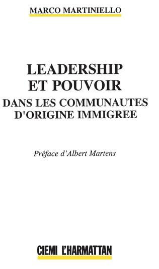 Couverture Leadership et pouvoir dans les communautés d'origine immigré