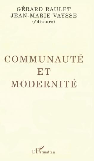 Couverture Communauté et modernité