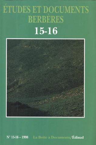 Couverture Études et documents berbères n° 15-16