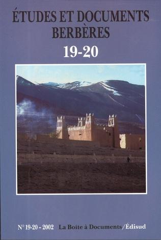 Couverture Études et documents berbères N° 19 20