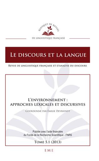 Couverture L'environnement : approches lexicales et discursives