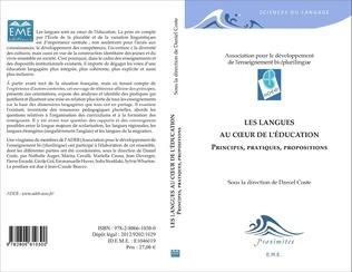 Couverture Les langues au coeur de l'éducation