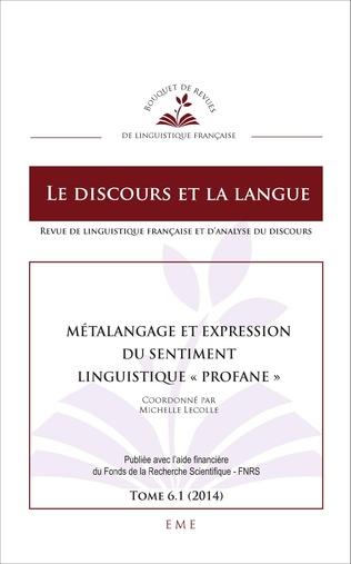 Couverture Métalangage et expression du sentiment linguistique