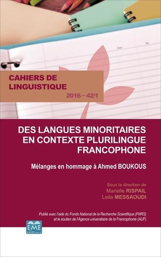 Couverture Langues minoritaires en contexte plurilingue francophone