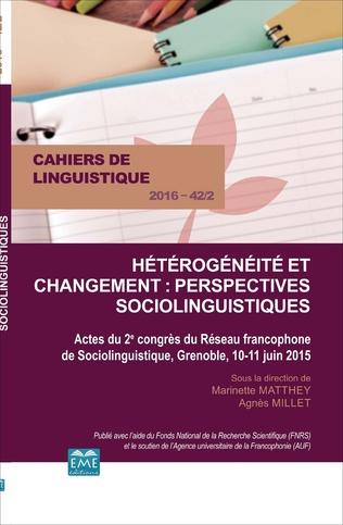 Couverture Hétérogénéité et changement : perspectives sociolinguistiques