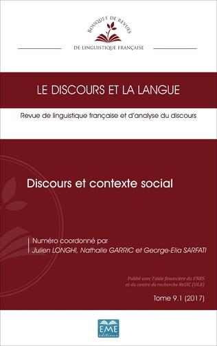 Couverture Discours et contexte social