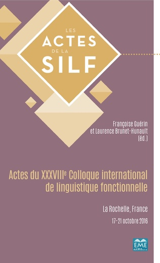 Couverture Actes du XXXVIIIe Colloque international de linguistique fonctionnelle