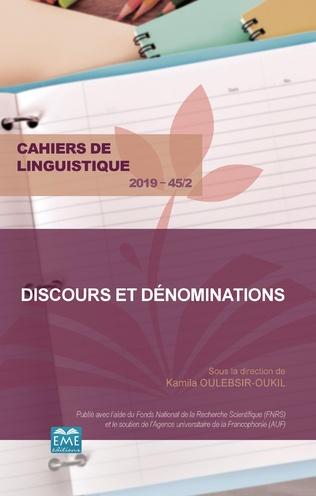 Couverture Discours et dénominations