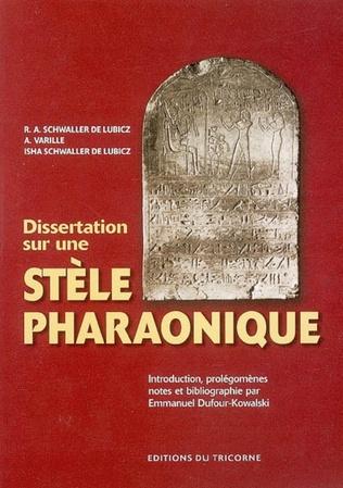 Couverture Dissertation sur une stèle pharaonique