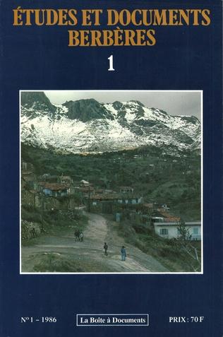 Couverture Études et documents berbères n°1
