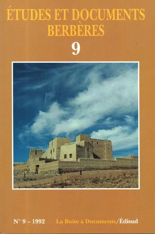 Couverture Études et documents berbères N° 9