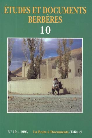 Couverture Études et documents berbères n° 10