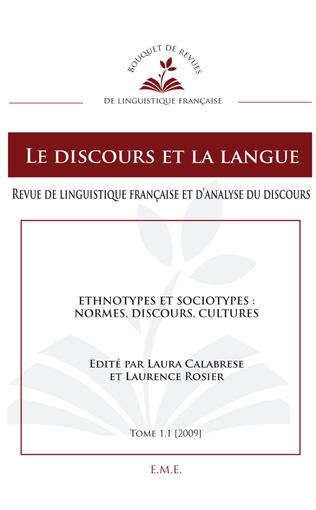 Couverture Ethnotypes et Sociotypes : normes, discours, cultures