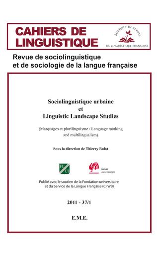 Couverture Sociolinguistique urbaine et Linguistic Landscape Studies