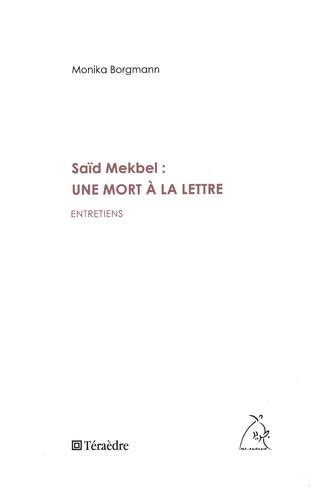 Couverture Saïd Mekbel : une mort à la lettre