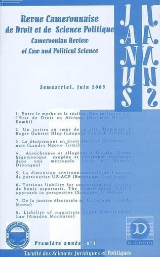 Couverture Revue Camerounaise de Droit et de Science Politique (Janus 1)
