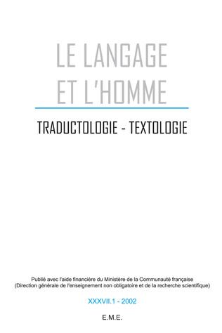 Couverture Traductologie, textologie. 37/1