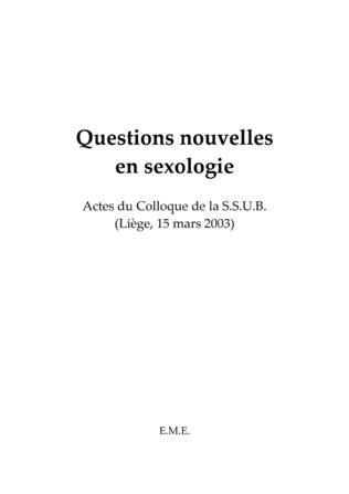 Couverture Questions nouvelles en sexologie