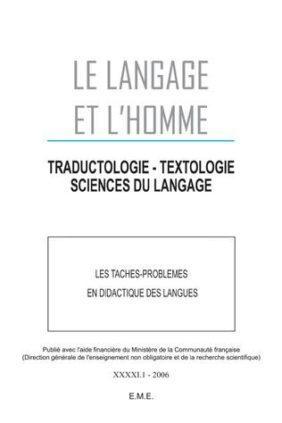 Couverture Les taches - problèmes en didactique des langues