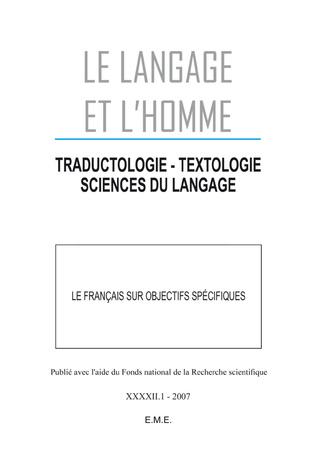 Couverture Le français sur objectifs spécifiques