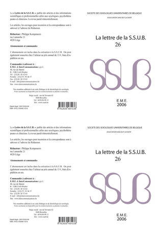 Couverture Lettre de la S.S.U.B. 26