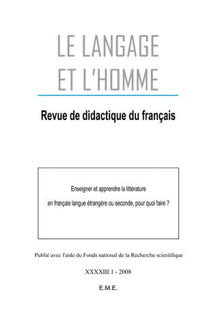 Couverture Enseigner et apprendre la littérature en français langue étrangere ou seconde, pour quoi faire?