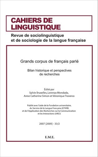 Couverture Grand Corpus de français parlé