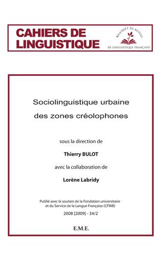 Couverture Sociolinguistique urbaine des zones créolophones