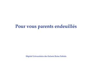 Couverture Pour vous, parents endeuillés