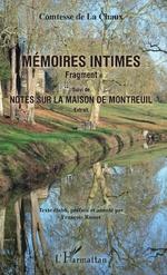Mémoires intimes - Renée Comtesse de La Chaux, François Rosset