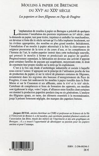 4eme Moulins à papier de Bretagne du XVI° au XIX° siècle