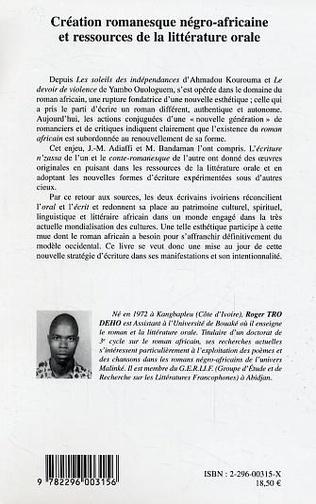 4eme Création romanesque négro-africaine et ressources de la litt